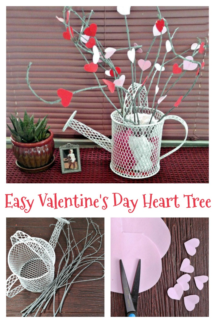 This Valentine's day heart tree is easy to make and looks lovely on any mantle.