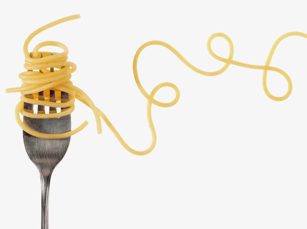 fork with twirled spaghetti