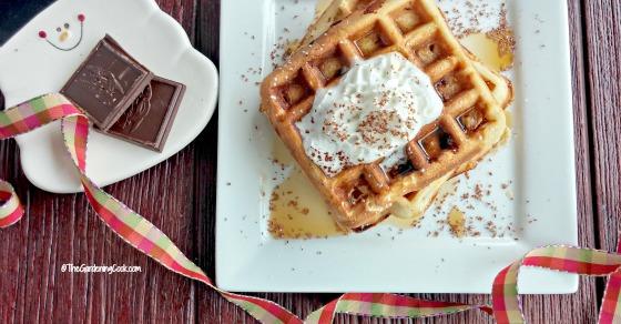 Peanut Butter Banana Belgian Waffles with Dark Chocolate