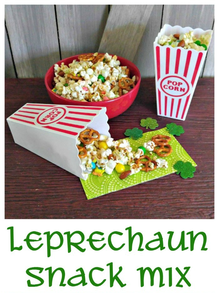 snack mix with popcorn holders