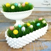 5 Minute Craft – Easter Decor in Hobnail Milk Glass