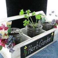 DIY Cottage Chic Herb Garden With Mason Jars