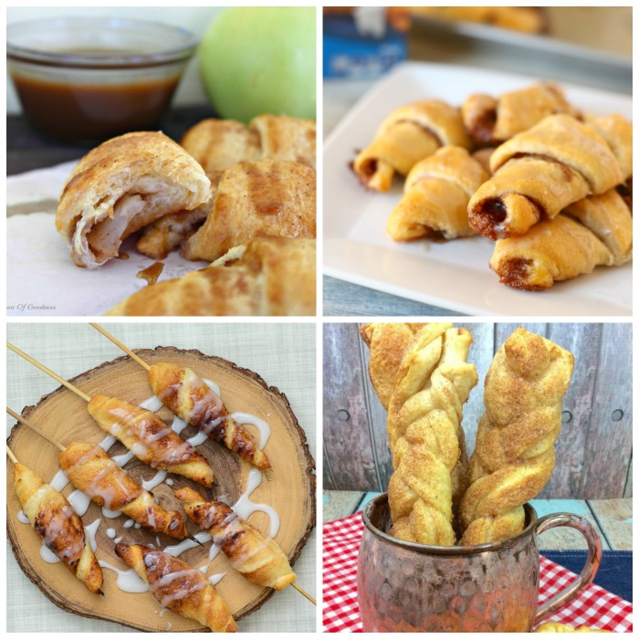 Collage showing four different crescent roll recipes.