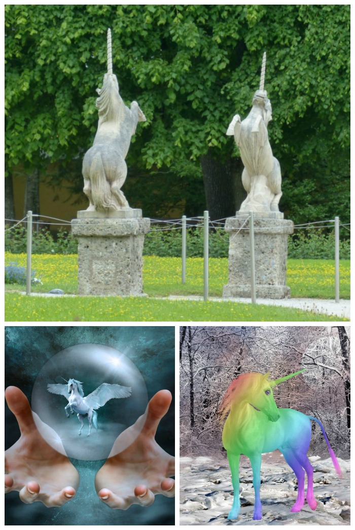 A collage with three unicorn images to celebrate National Unicorn Day - the top photo has two unicorn statues, the bottom left has a flying unicorn in a glass ball, and the bottom right has a rainbow unicorn in a snowy forest.