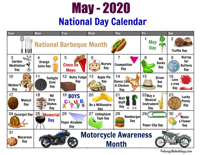 Calendar to print out for the days of May