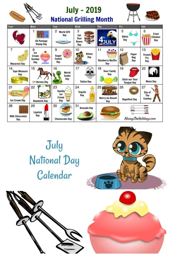 Get your Printable July National Days Calendar