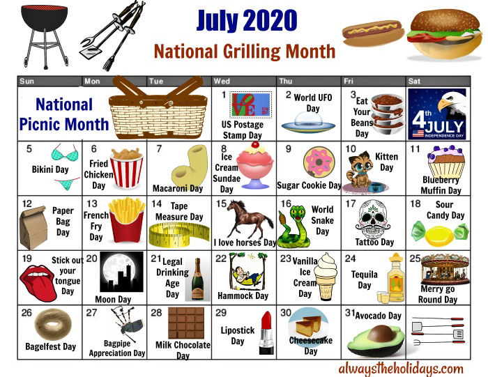 Printable calendar of National Days for July