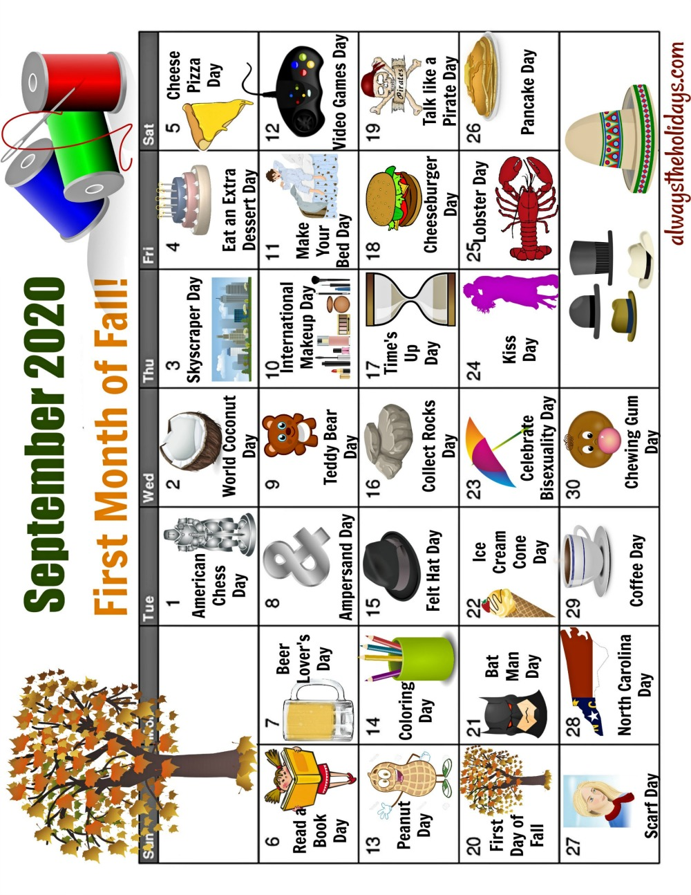 September calendar printable for National Days