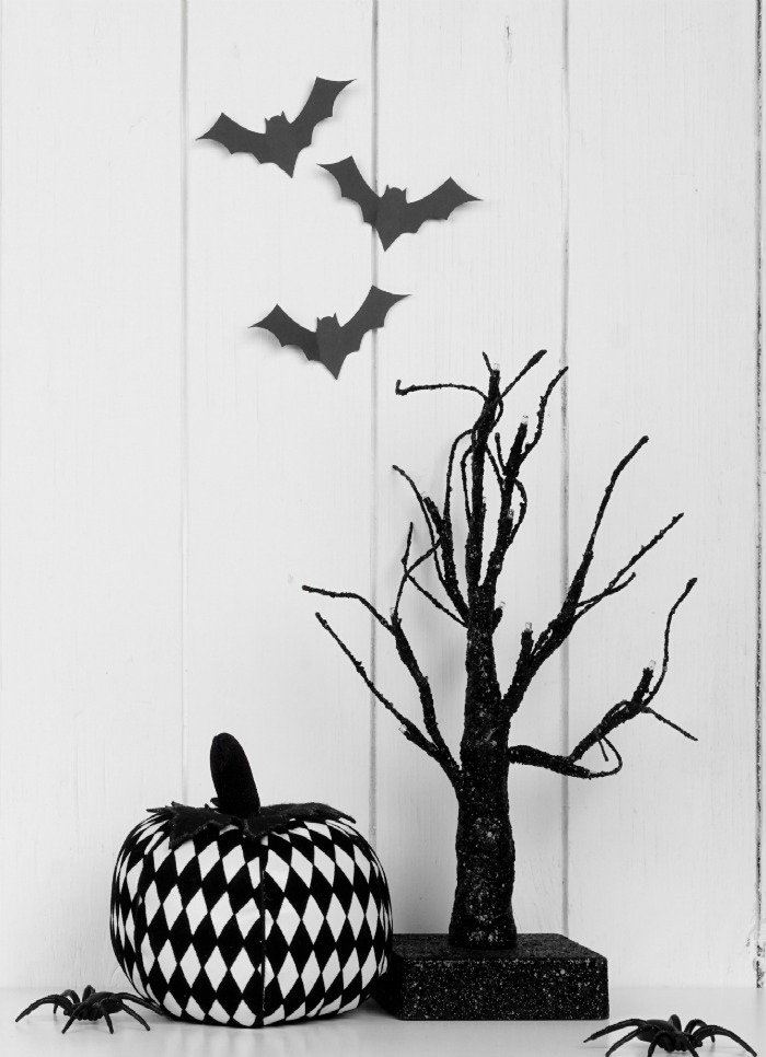 Black and white decoupage pumpkins.