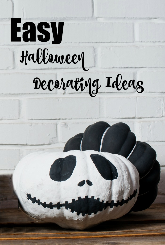 "Jack Skellington pumpkin and text reading ""Easy Halloween decorating ideas."""