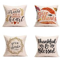 Happy Thanksgiving Day Pillow Covers 4 Pack Fall Decor Cotton Linen Give Thanks