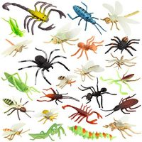 Insect Bug Toy Figures for Kids Boys, Fake Bugs - Fake Spiders, Cockroaches, Scorpions, Crickets, Lady Bugs, Mantis and Worms