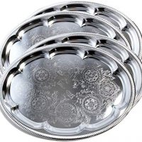 Traditional Oval Floral Pattern Engraved Catering Chrome Plated Serving Plate Mirror Tray Platter
