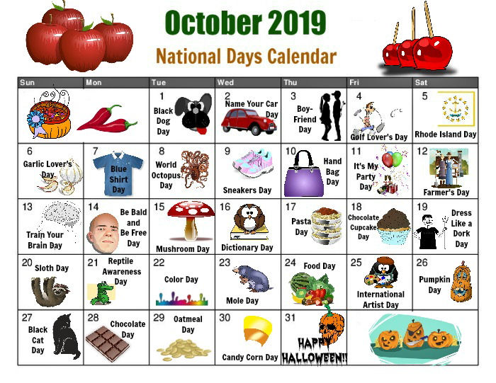 October National Day Calendar - Free Printable
