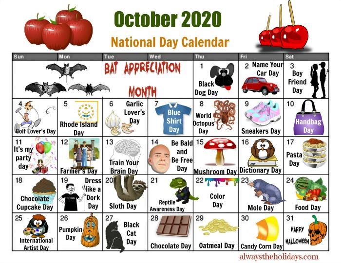 Calendar of National Days for October 2020.