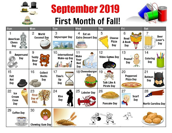 September National Day Calendar - Free Printable