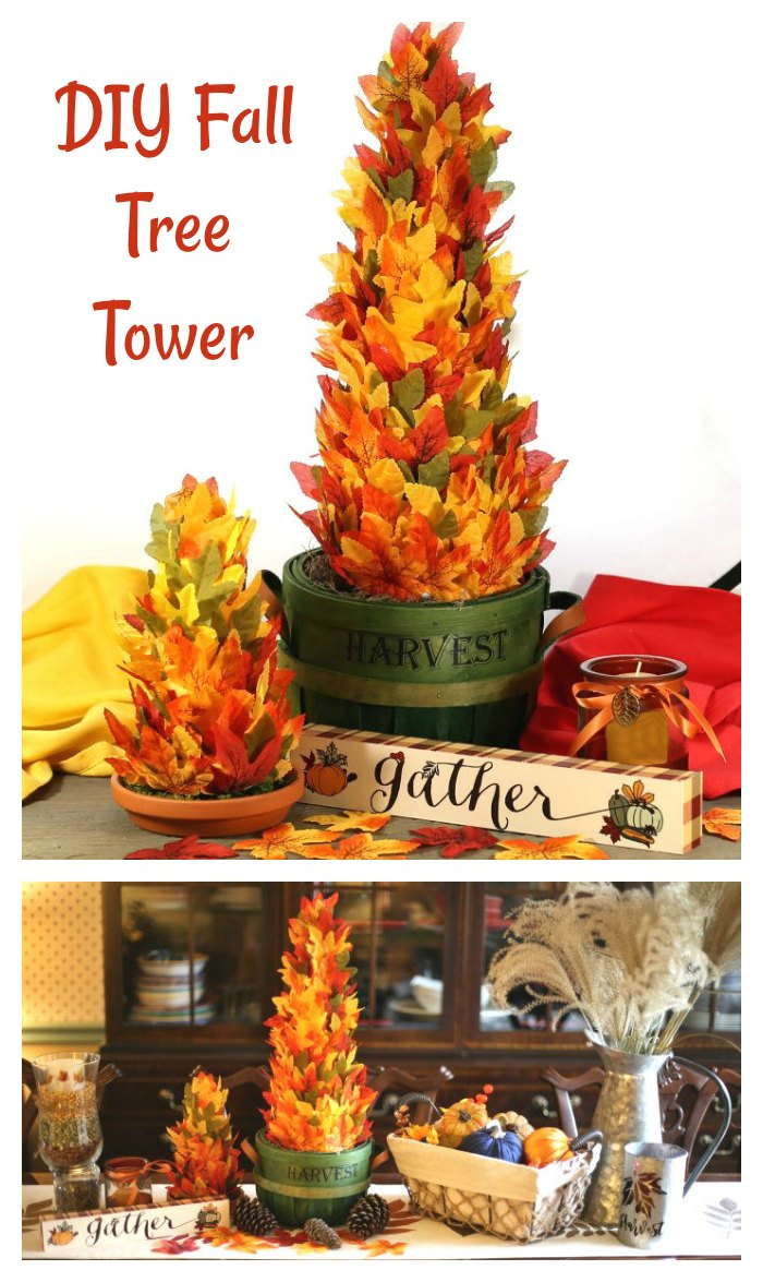 "Collate with leaf trees and Thanksgiving tablescape and words reading ""DIY tree fall tree tower."""