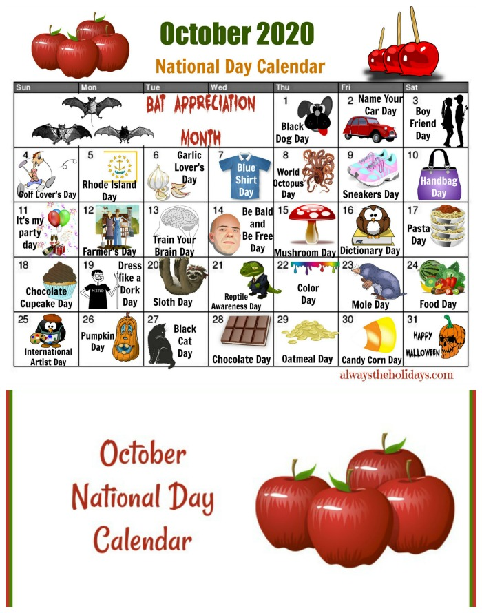 Get your free printable calendar for the National Days of October