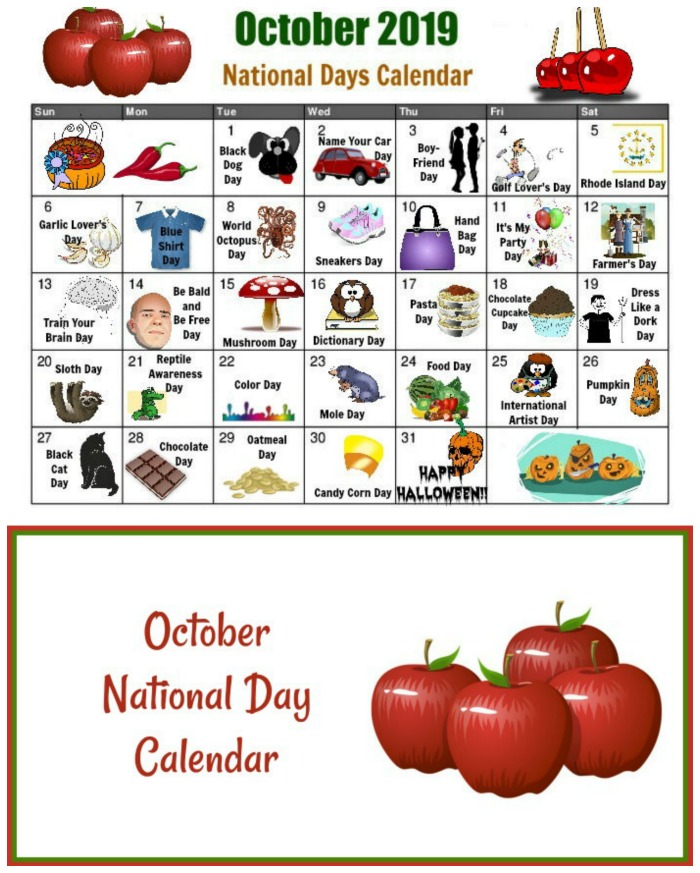 Click through to get your October free printable calendar for the National Days this month.