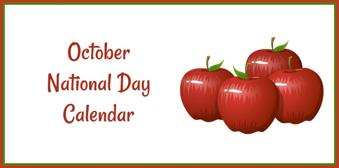 Apples with words October National Day Calendar