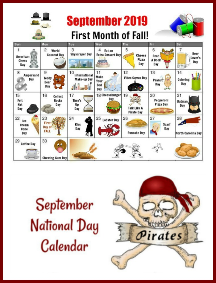 Print out your own September National Day Calendar