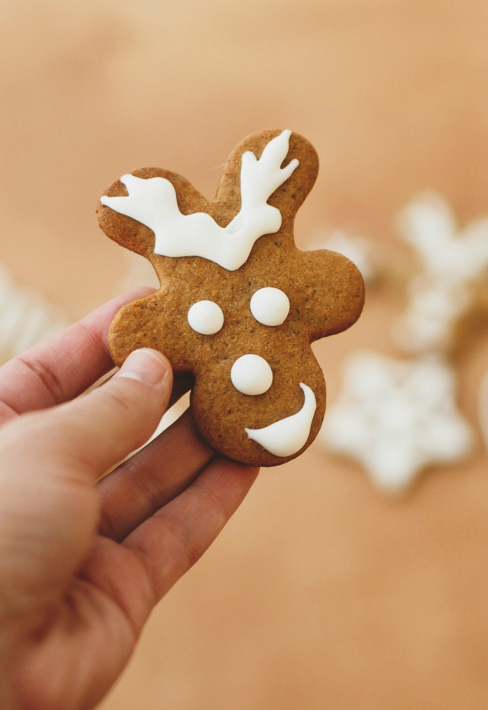 Hand holding a gingerbread cookie decorated like a reindeer head.
