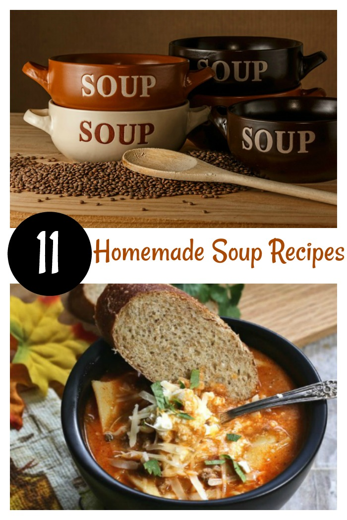 Try of of these 11 homemade soup recipes. Comfort food - bowls of soup