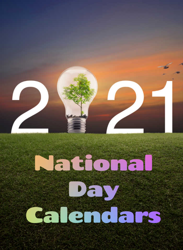 2021 with lightbulb and words National Day Calendars.