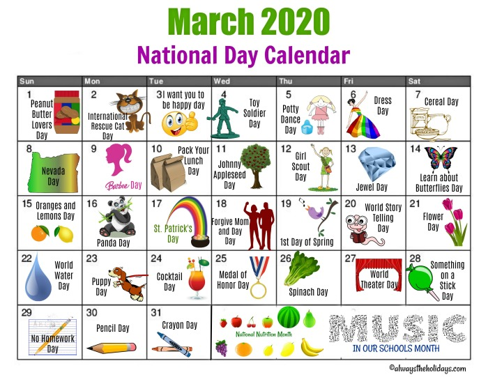 Printable Calendar of National Days in March