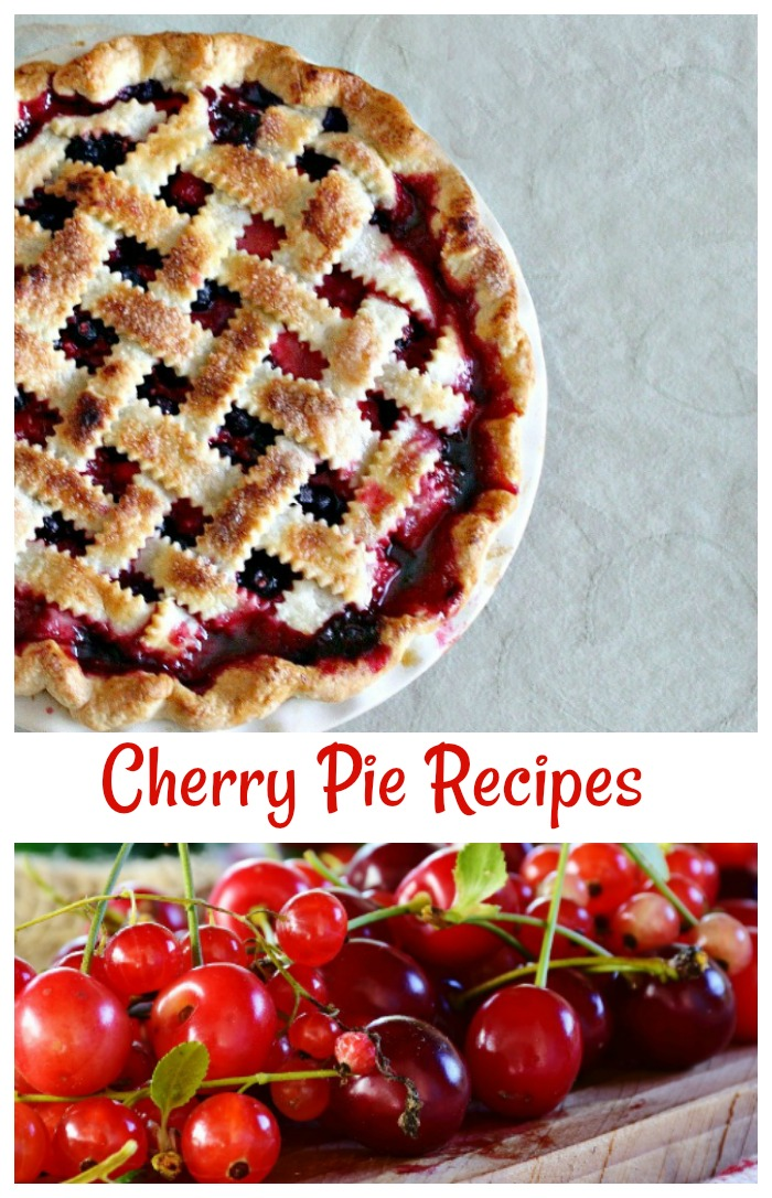 siur cherries and a pie with a lattice crust