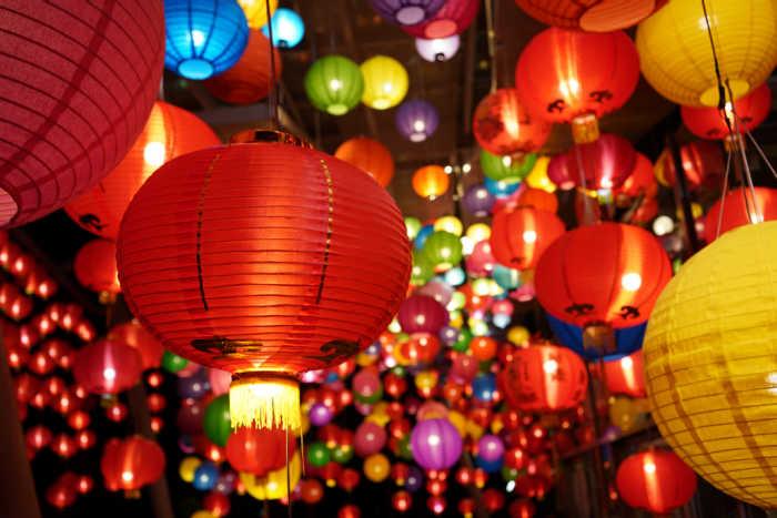 Multicolored lanterns for the Lantern Festival.