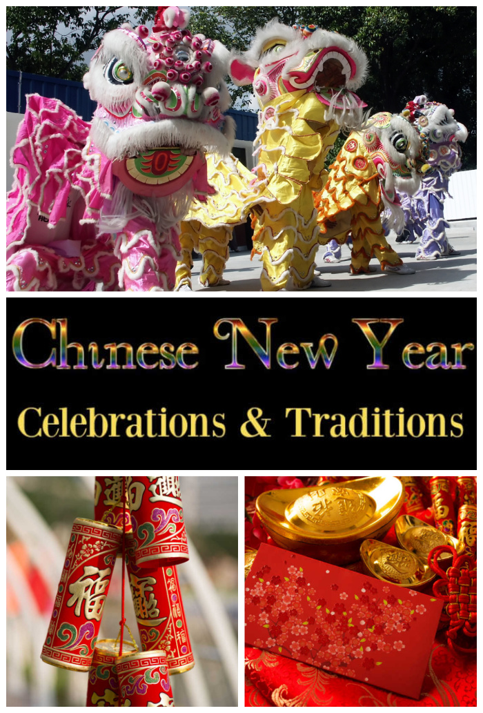 Parade, firecrackers, decorations and words Chinese New Year Celebrations & Traditions..