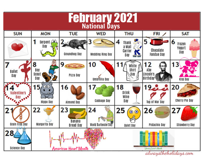 Colorful calendar of the National Days in February 2021.