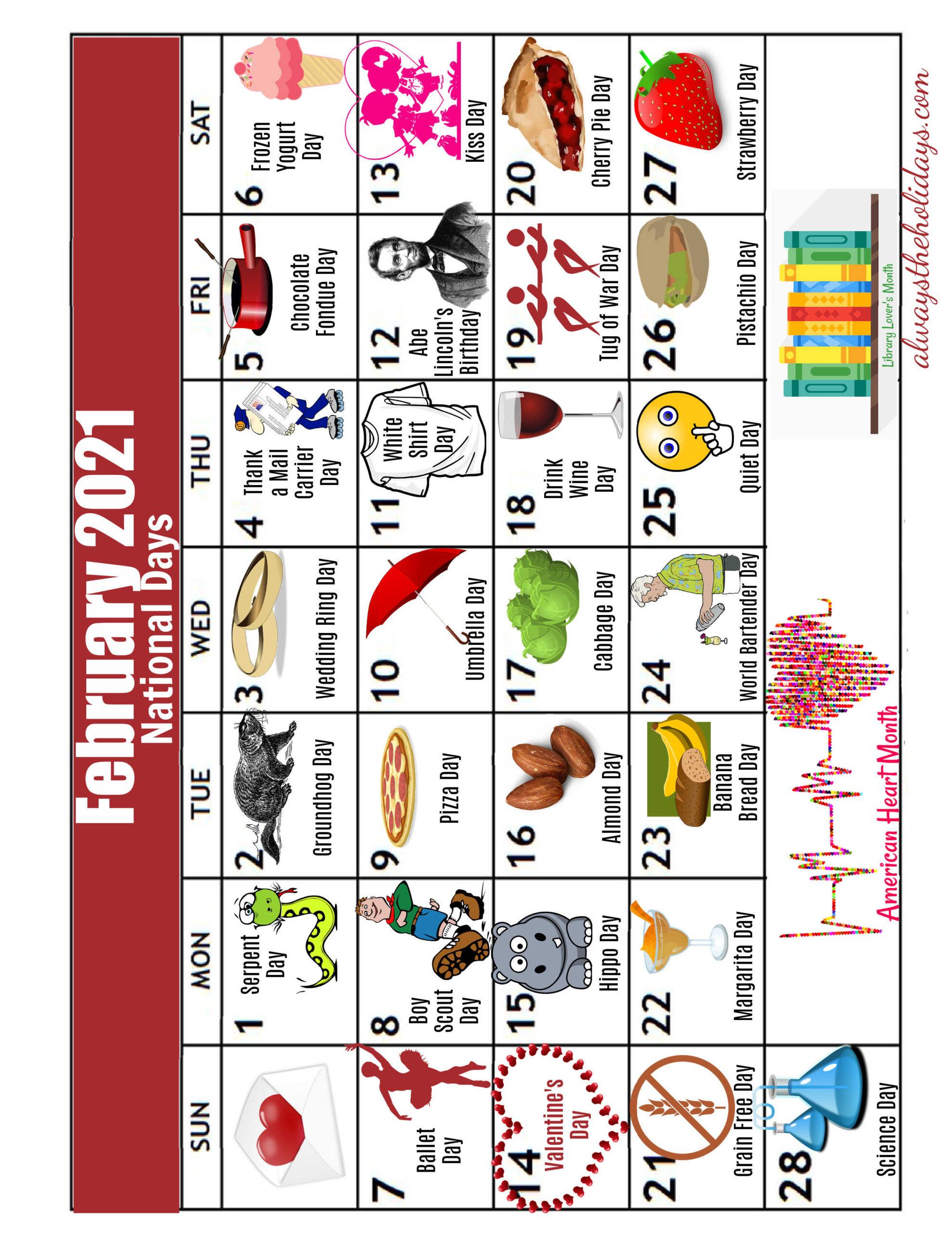 Calendar of National Days of February 2021 flipped sideways.