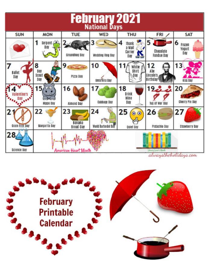 February National Day Printable Calendar of 2021 with umbrella, fondue pot and strawberry.