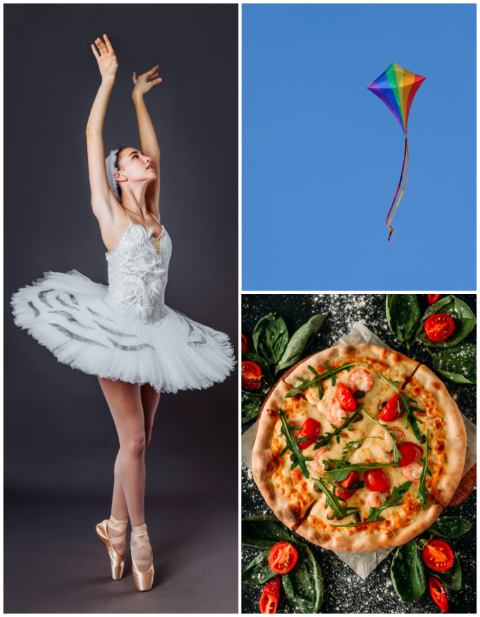 Collage with a ballerina, kite flying and pizza.