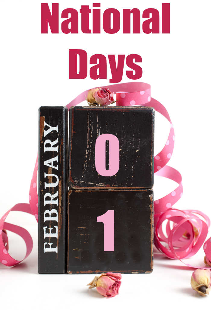 "Block calendar of February with pink ribbon and words reading ""National Days."""