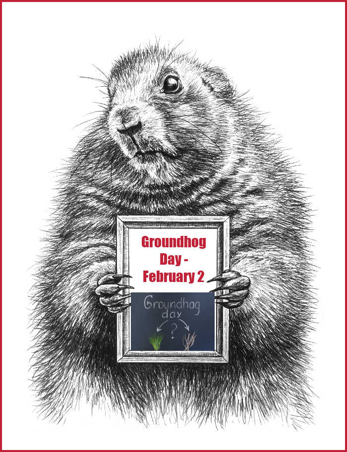 Groundhog holding a blackboard with words Groundhog day February 2 and question mark about spring..