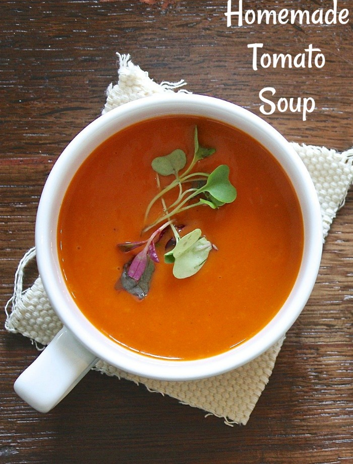 This homemade tomato soup is one of the easiest recipes out there.  Don't let that fool you though.  The flavor is great. #homemadetomatosoup #homemadesoup #homemadesoupday #tomatosouprecipes