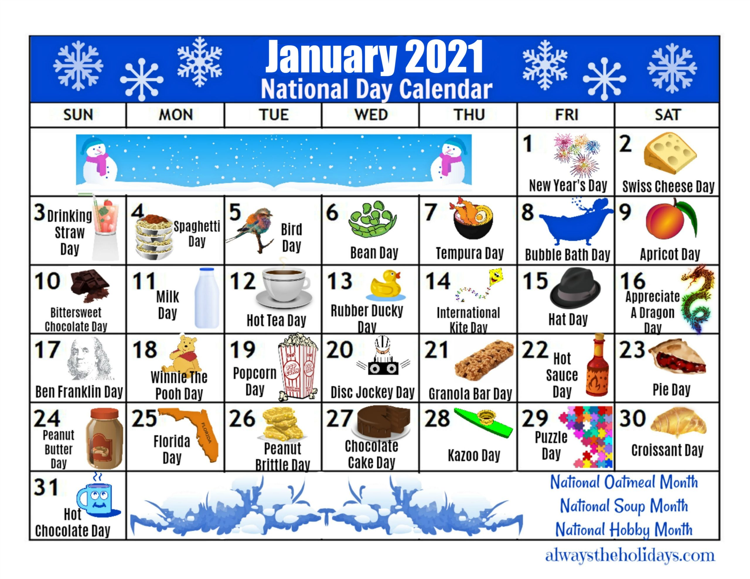 January Printable National Day Calendar 2021   Free Planning Calendars