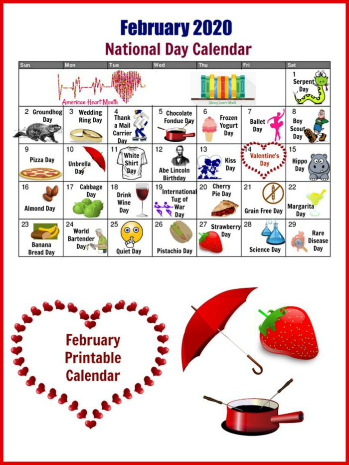 February free printable for national Days