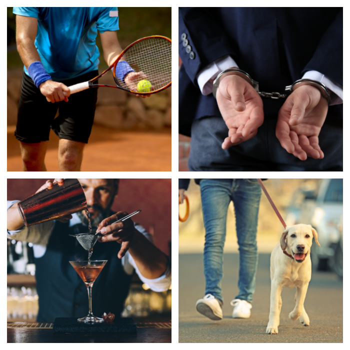 Playing tennis, handcuffs, bartender and dog walking photos in a collage.