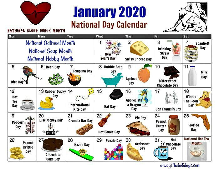 Printable calendar for January 2020