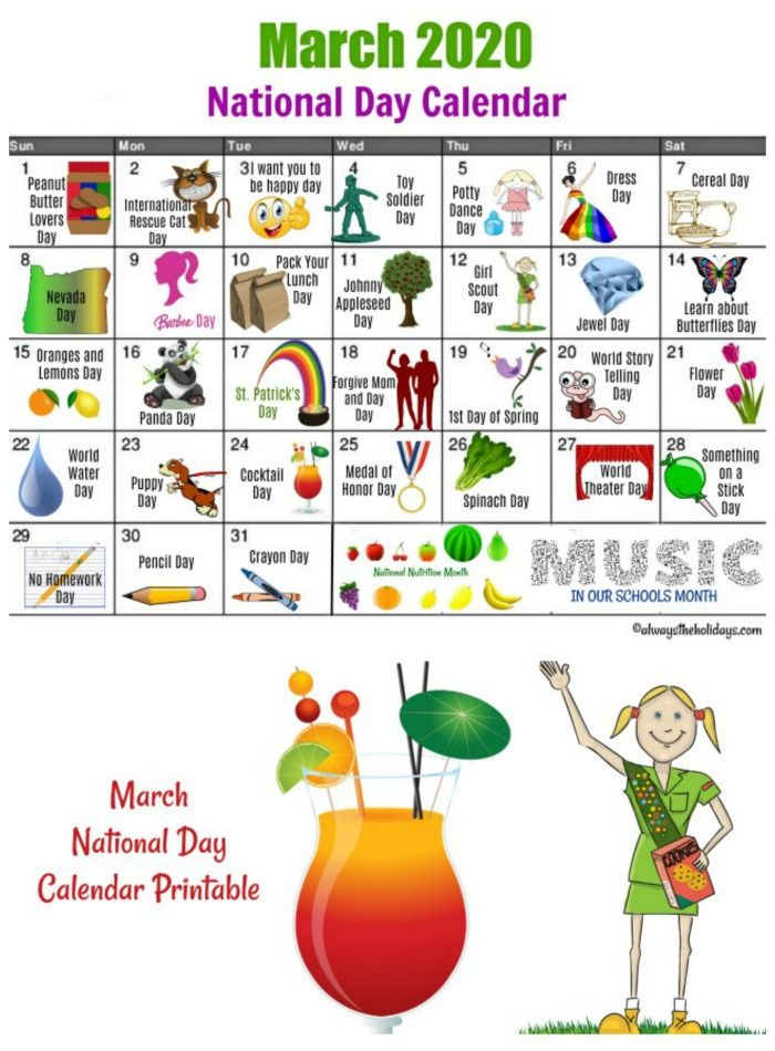 Get your March National Day Calendar printable