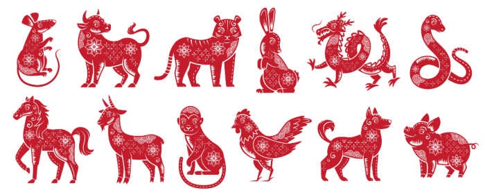 Red animals of the zodiac on a white background.