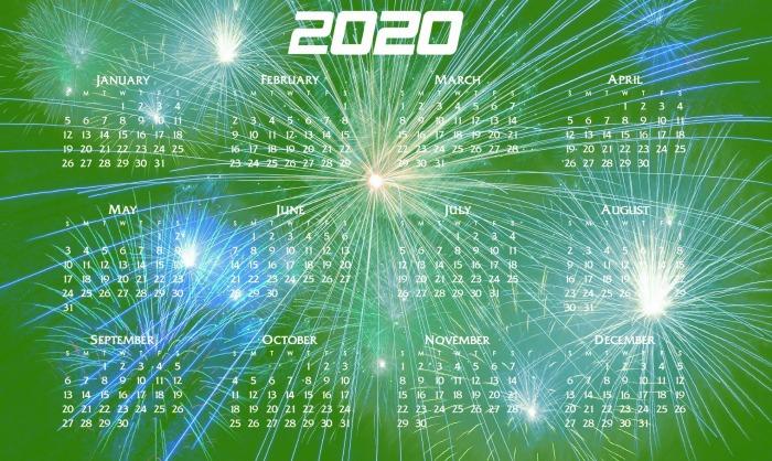 March 2020 calendar.