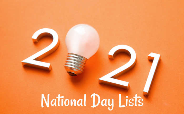 Number 2021 with lightbulb for a 0 and words National Day Lists.