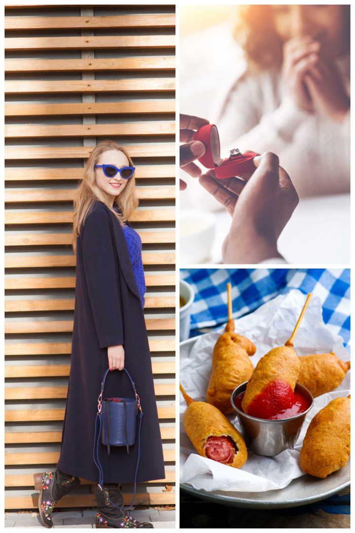 Woman in a blue coat, ring in a box for proposal and corn dogs on a plate.