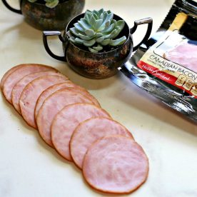 Canadian bacon slices and a succulent plant