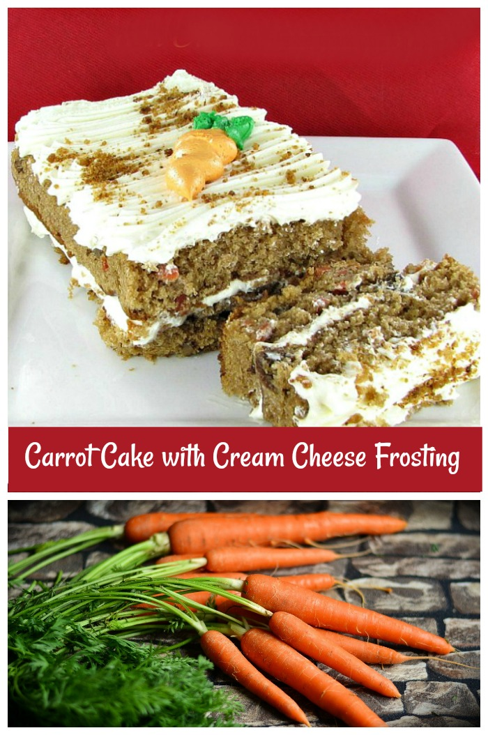 This carrot cake recipe hasno nuts, or raisins to add bulk to the cake. The flavor is great and comes from the wonderful mixture of grated carrots, with an abundance of spices and sugar. #carrotcake #desserts #cakerecipes #healthydesserts